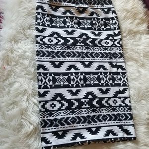 Express aztec midi bodycon skirt